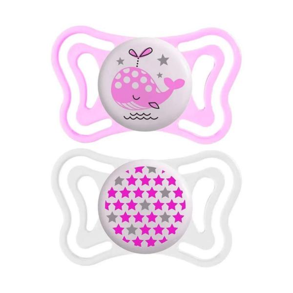 Chupeta Physio Light Lumi Rosa (0-6m) - 2un - Chicco