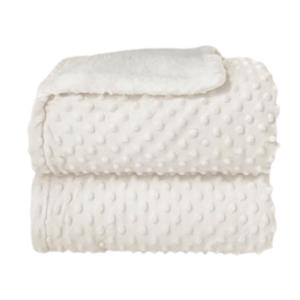 Cobertor Sherpam Dots Branco - Laço (inf 0,90x1,10)