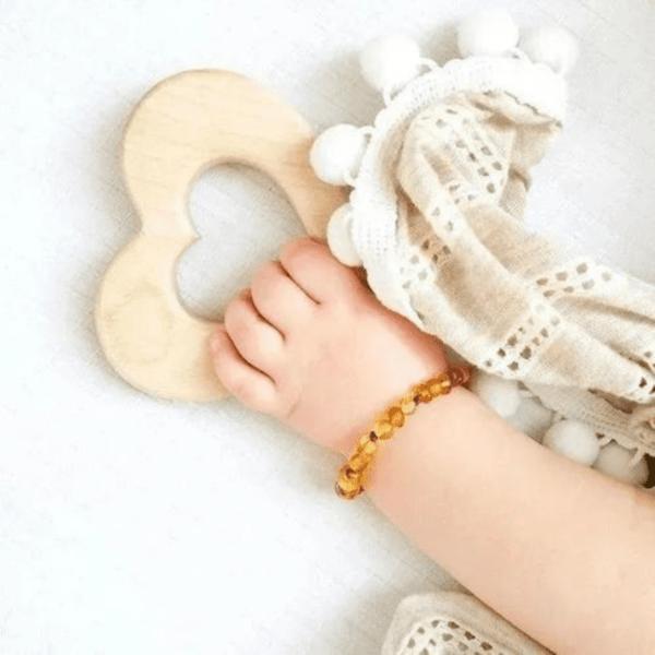 Pulseira de Âmbar Baroque Honey 14cm - Bup Baby